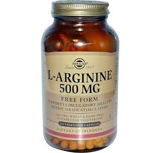 Solgar, L-аргинин, 500 мг, 250 растительных капсул