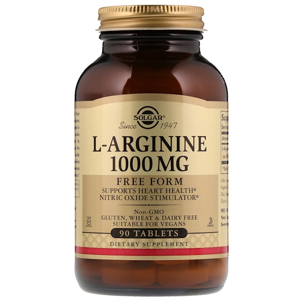 Solgar, L-Arginine, Free Form, 1,000 mg, 90 Tablets