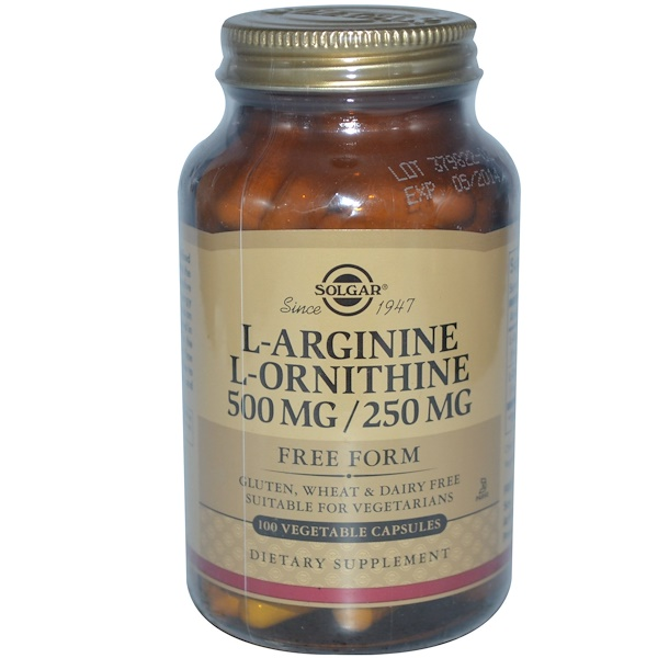 Solgar, L-Arginine, L-Ornithine, 500 mg/250 mg, 100 Vegetable Capsules (Discontinued Item)