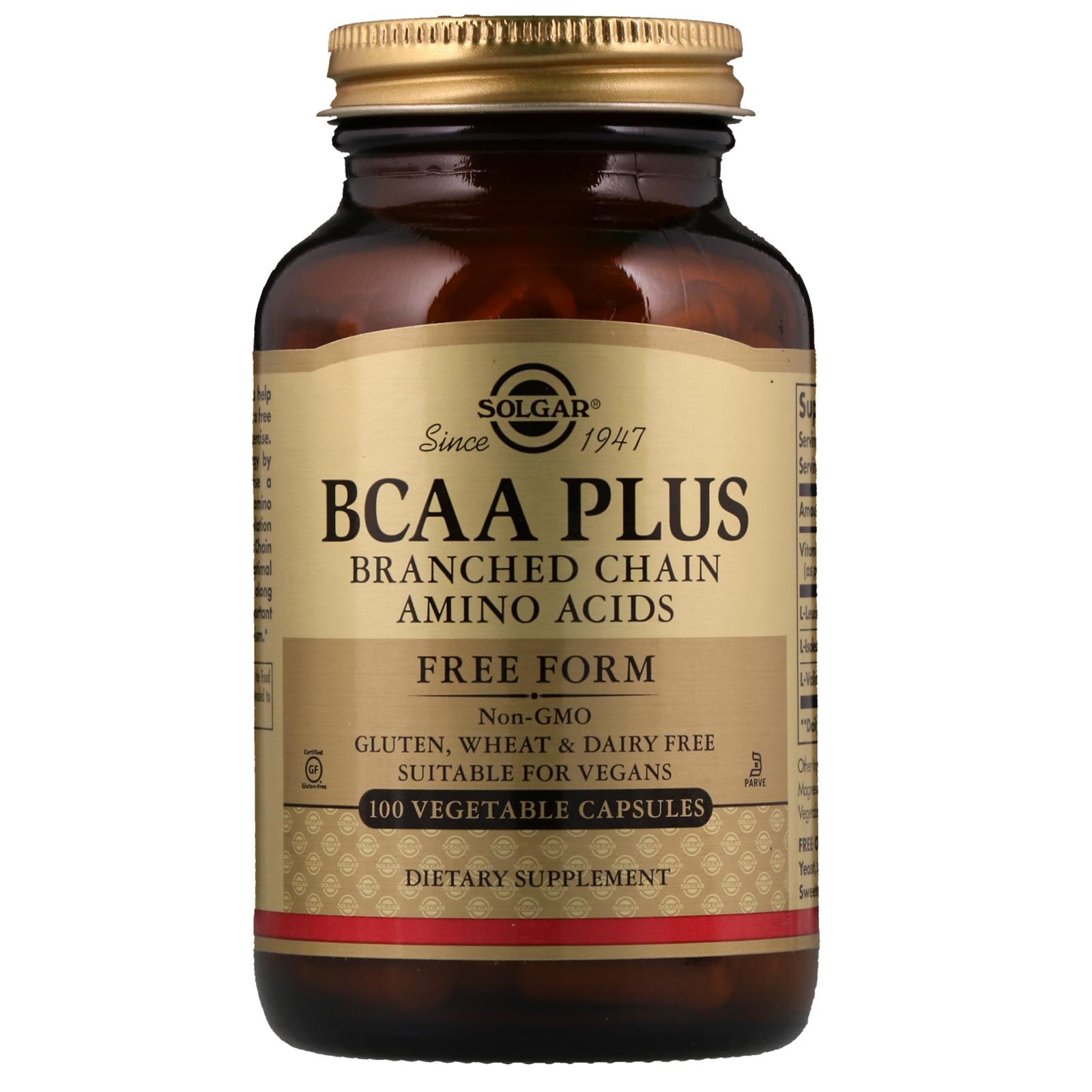 Solgar, BCAA Plus, Free Form, 100 Vegetable Capsules - iHerb com
