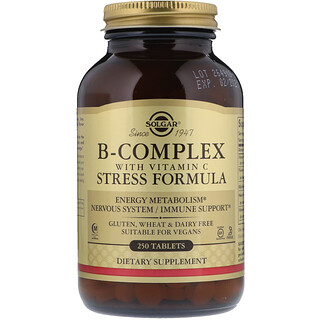 Solgar, B-Complex with Vitamin C Stress Formula, 250 Tablets