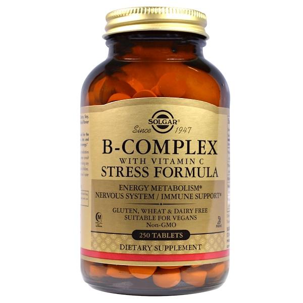 Solgar, ビタミンC配合B複合体 ストレスフォーミュラ, 250錠