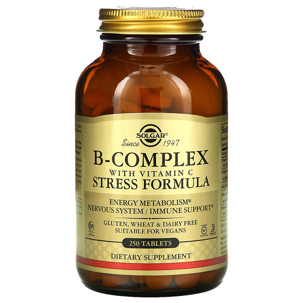 B-Complex with Vitamin C Stress Formula, 250 Tablets