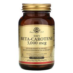 Солгар, Dry Beta-Carotene, 3,000 mcg, 250 Tablets отзывы