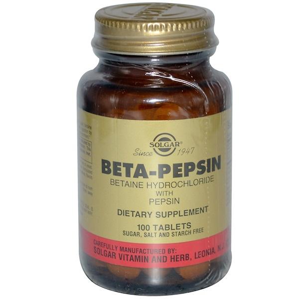 Solgar, Бета-пепсин, бетаин гидрохлорид с пепсином, 100 таблеток (Discontinued Item)