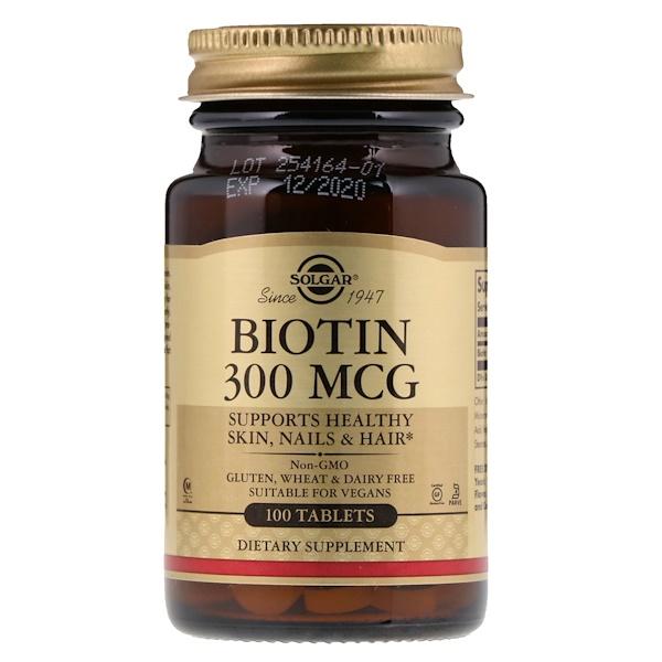 Solgar, بيوتين، 300 ميكرو جرام، 100 قرص