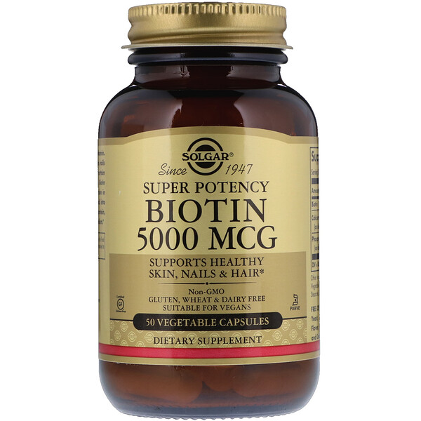Solgar, Biotin, 5,000 mcg, 50 Vegetable Capsules