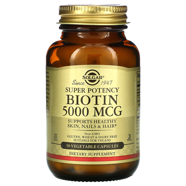 Biotin, 5,000 mcg, 50 Vegetable Capsules