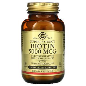 Солгар, Biotin, 5,000 mcg, 50 Vegetable Capsules отзывы покупателей