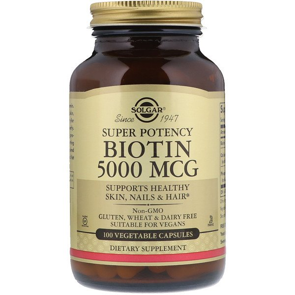 Solgar, Biotin, 5,000 mcg, 100 Vegetable Capsules