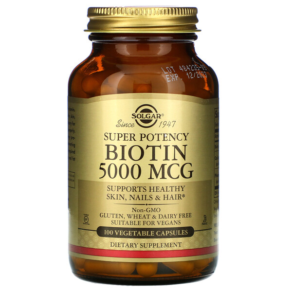 Biotin, 5,000 mcg, 100 Vegetable Capsules