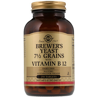 Solgar, Brewer's Yeast, 7 1/2 Grains, with Vitamin B12, 250 Tablets