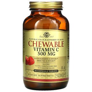 Solgar, Chewable Vitamin C, Natural Cran-Raspberry, 500 mg, 90 Chewable Tablets