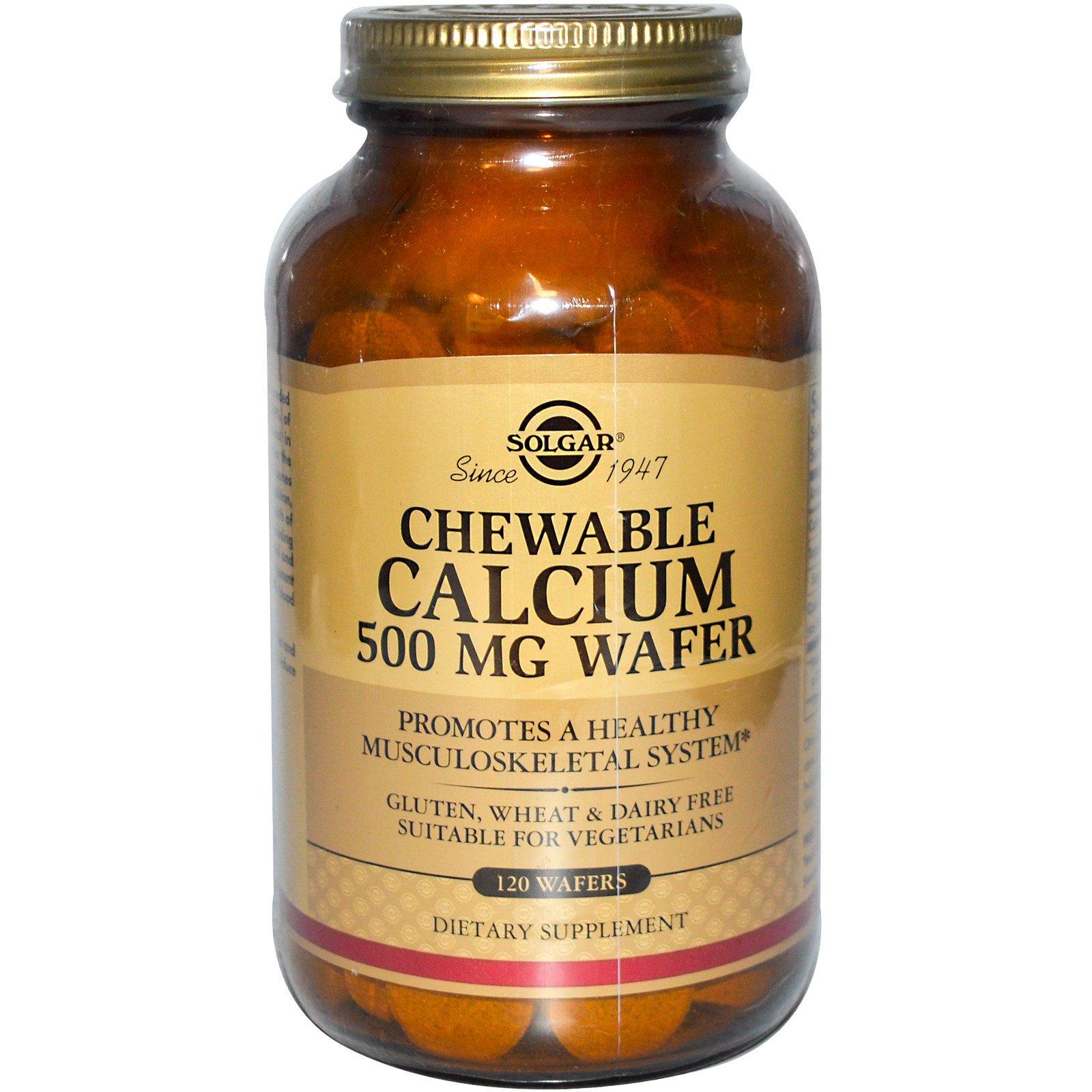 Solgar, Жевательный кальций, 500 мг, 120 вафель
