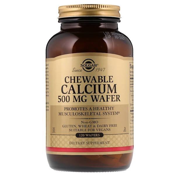 Solgar, رقاقات الكالسيوم المضغية، 500 مجم، 120 رقاقة