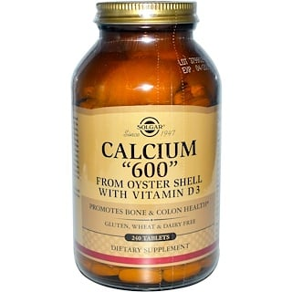 """Solgar, Calcium """"600"""", from Oyster Shell with Vitamin D3, 240 Tablets"""