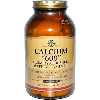 """Solgar, カルシウム """"600""""、カキの殻由来、ビタミンD3配合、240 錠"""