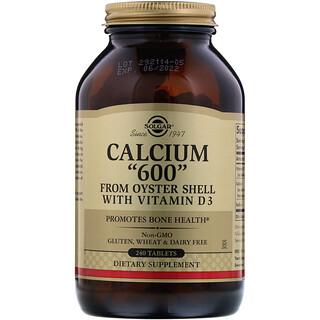 Solgar, Calcium «600», produit à partir de coquille d'huitres avec vitamine D3, 240 comprimés