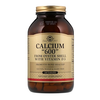 """Solgar, Calcium """"600"""" from Oyster Shell with Vitamin D3, 240 Tablets"""