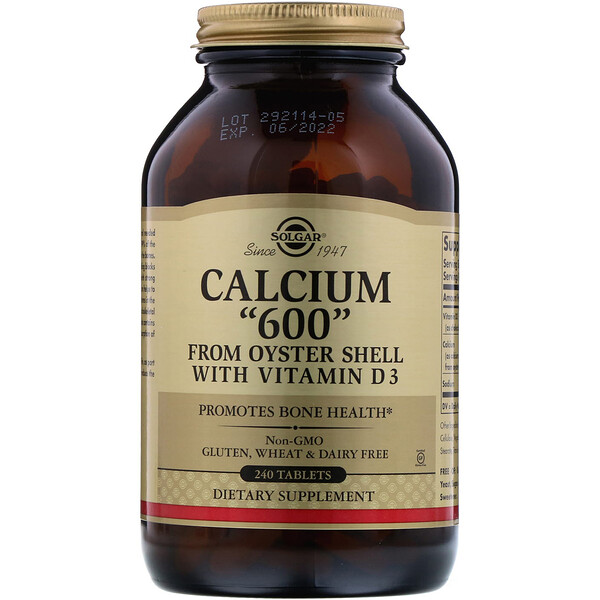 "Calcium ""600"" from Oyster Shell with Vitamin D3, 240 Tablets"