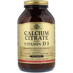 Solgar, 비타민 D3 있는 칼슘 시트로산염, 240 정