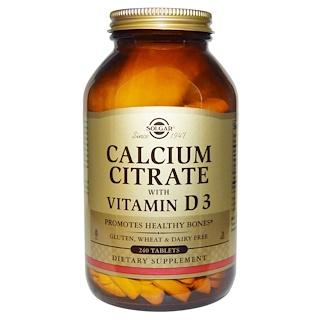 Solgar, カルシウム・クエン酸、ビタミン D3入り、 240 錠