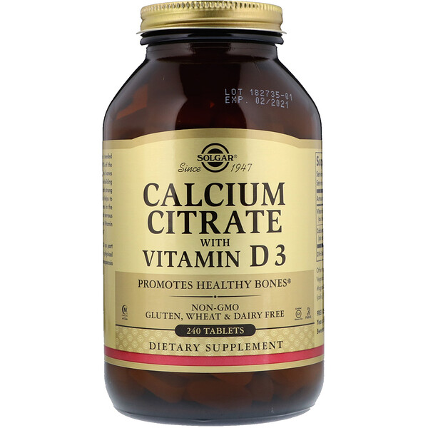 Calcium Citrate with Vitamin D3, 240 Tablets