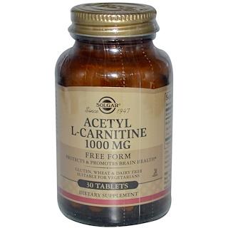 Solgar, アセチル L-カルニチン、 1000 mg、30 錠