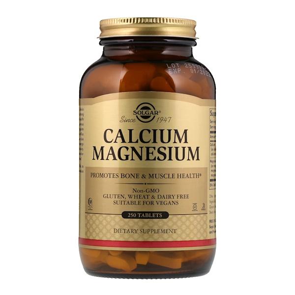 Solgar, Cálcio e magnésio, 250 comprimidos