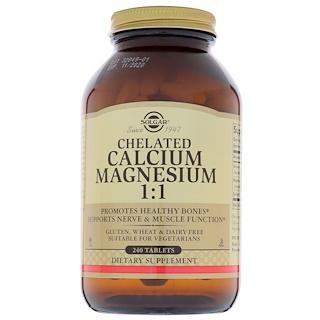 Solgar, キレートされたカルシウム マグネシウム 1:1、240 錠