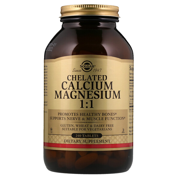 Solgar, Chelated Calcium Magnesium 1:1, 240 Tablets