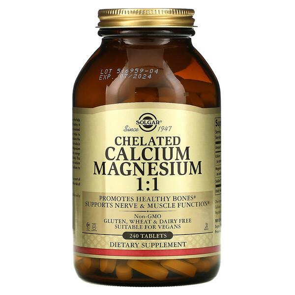 Solgar, Magnésium Calcium 1:1 Chélatés, 240 Comprimés