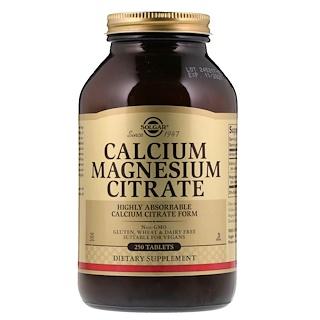 Solgar, Cálcio, magnésio e citrato, 250 comprimidos