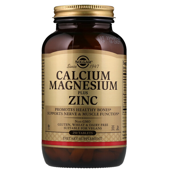 Calcium Magnesium Plus Zinc, 250 Tablets