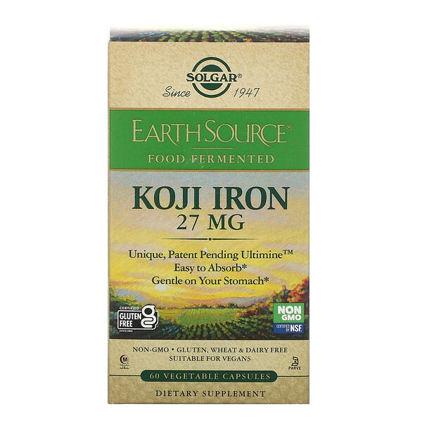 EarthSource Food Fermented, Koji Iron, 27 mg, 60 Vegetable Capsules
