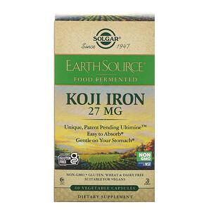 Solgar, EarthSource Food Fermented, Koji Iron, 27 mg, 60 Vegetable Capsules'