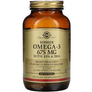 Solgar, Kosher Omega-3, 675 mg, 100 Softgels