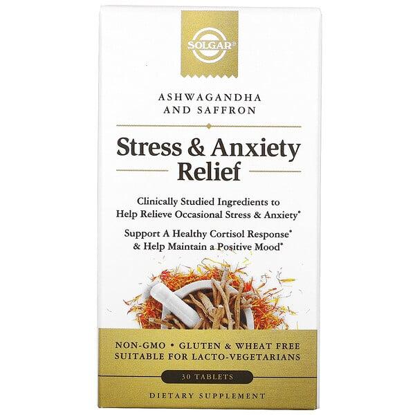 Solgar, Stress & Anxiety Relief, Ashwagandha and Saffron, 30 Tablets