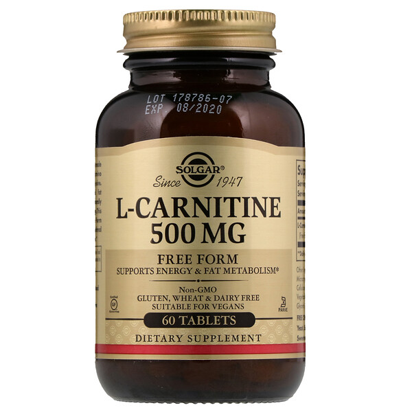 L-Carnitine, Free Form, 500 mg, 60 Tablets
