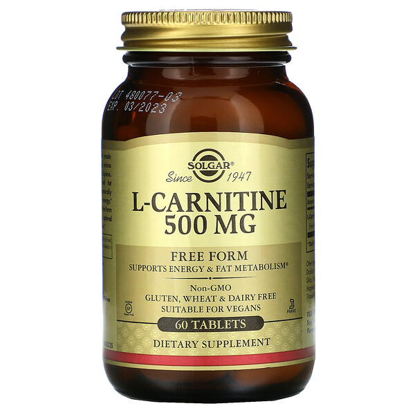 Solgar, L-Carnitine, Free Form, 500 mg, 60 Tablets