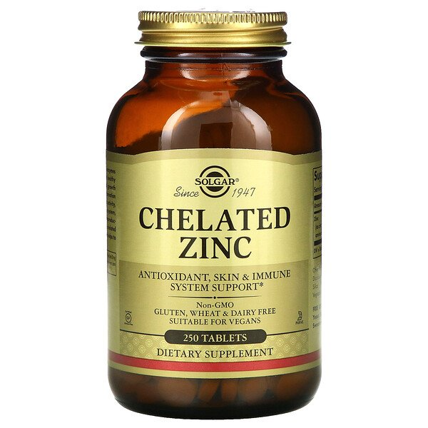 Solgar, Chelated Zinc, 250 Tablets