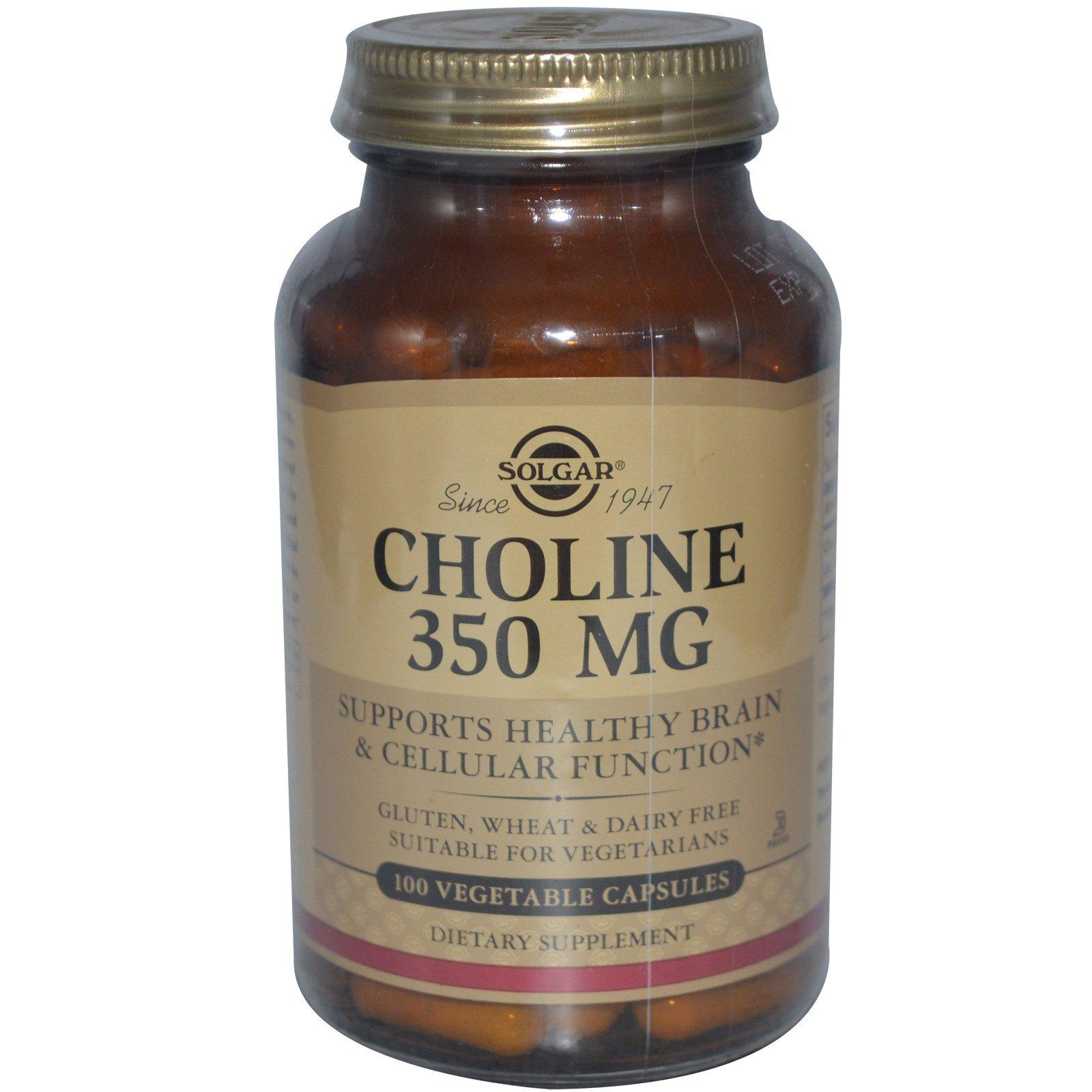 Solgar, Холин, 350 мг, 100 капсул на растительной основе