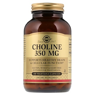 Solgar, Choline, 350 mg, 100 Vegetable Capsule