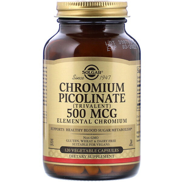 Chromium Picolinate, 500 mcg, 120 Vegetable Capsules