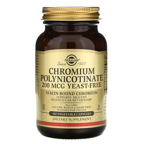Chromium Polynicotinate, 200 mcg, 100 Vegetable Capsules