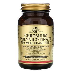 Солгар, Chromium Polynicotinate, 200 mcg, 100 Vegetable Capsules отзывы покупателей