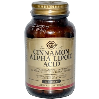 Solgar, Cinnamon Alpha-Lipoic Acid, 60 Tablets