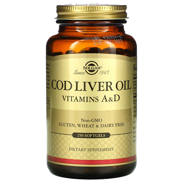 Solgar, Cod Liver Oil, Vitamins A & D, 250 Softgels