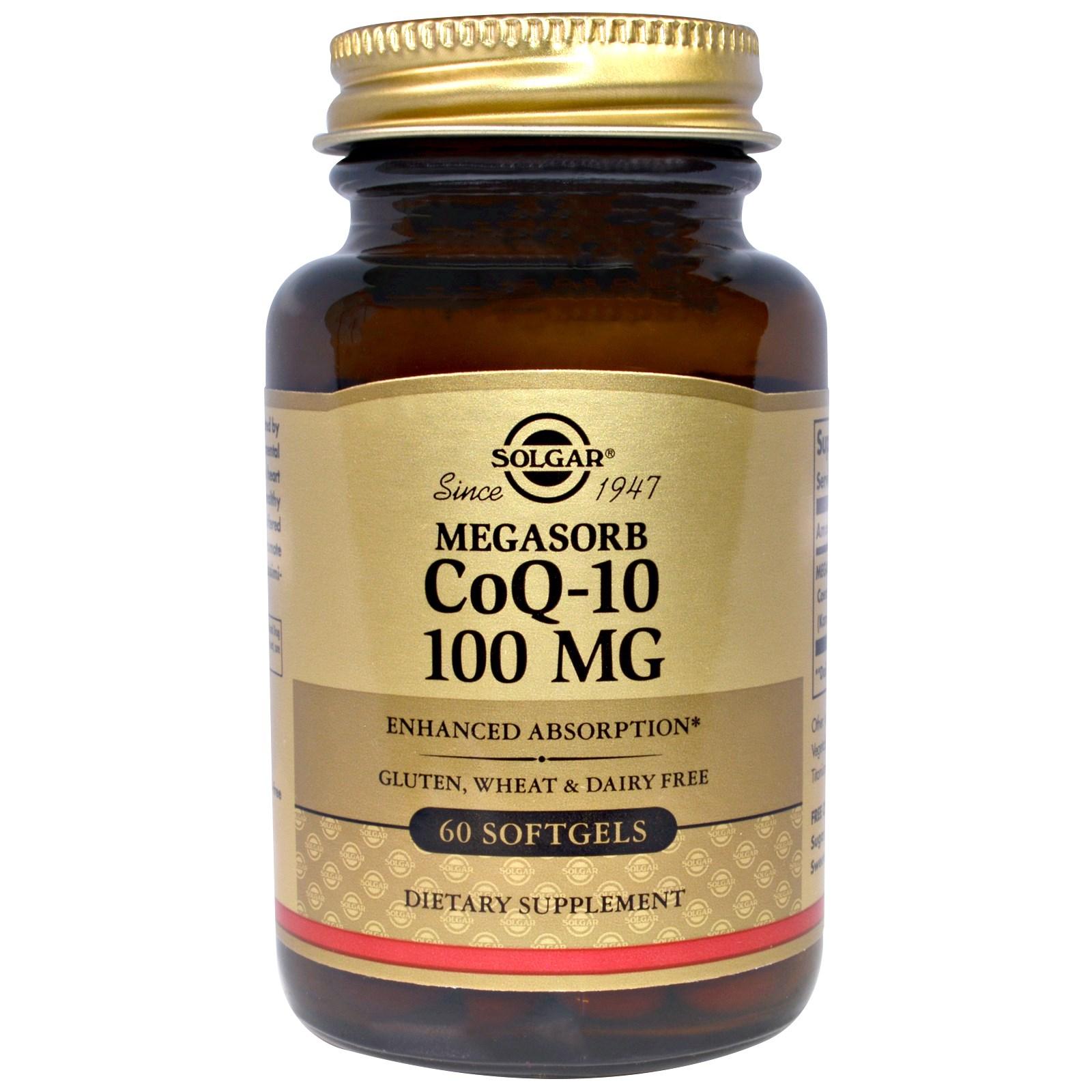 Solgar, Мегасорб CoQ-10, 100 мг, 60 мягких капсул