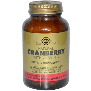 Solgar, Natural Cranberry, with Vitamin C, 60 Vegetable Capsules